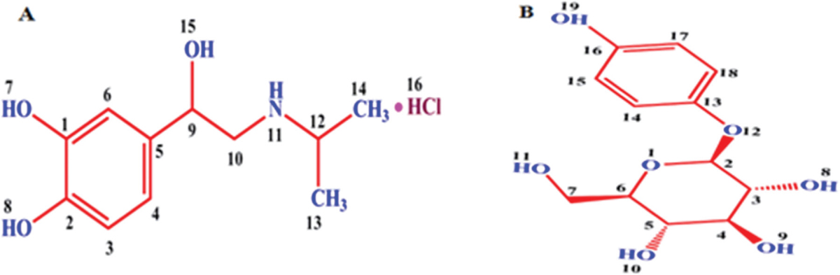 Figure 1 Chemical structure of (a) isoproterenol and (b) arbutin.